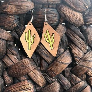 Handmade Tooled Leather Cactus Earrings